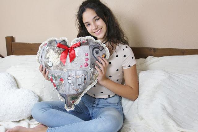 Un cojín fácil en forma de corazón