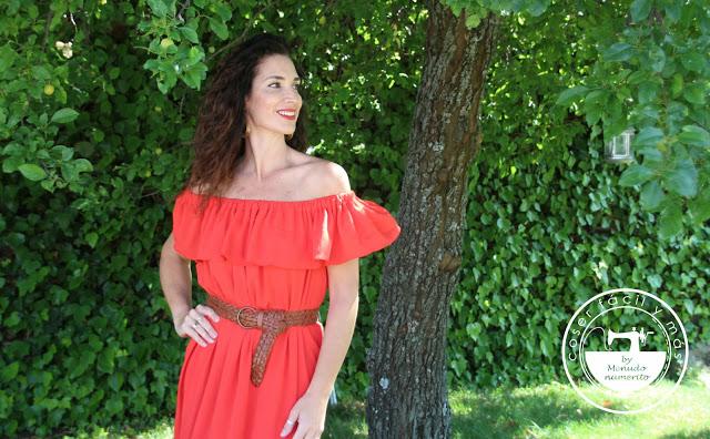 Vestido maxi  «off the shoulder», inspirado en una blusa campesina (1ª parte)