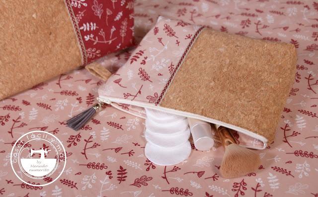Neceser combinado de corcho y tela con bolsillo interior