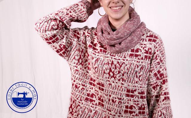 """Cuello """"infinity scarf"""", aprovechando relates de punto."""