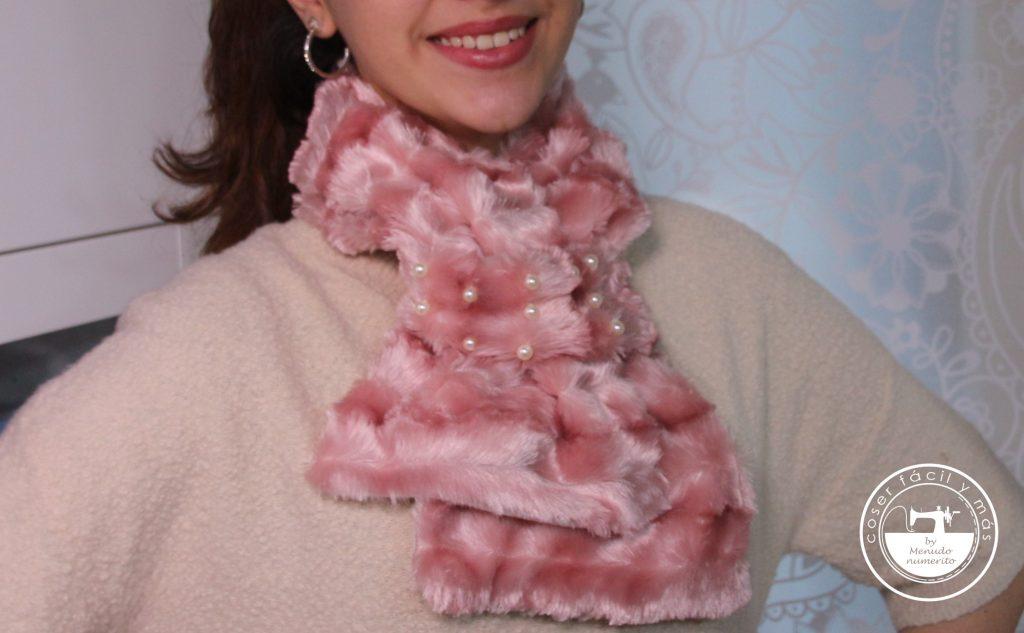 cuello pelo rosa perlas menudo numerito coser facil y mas