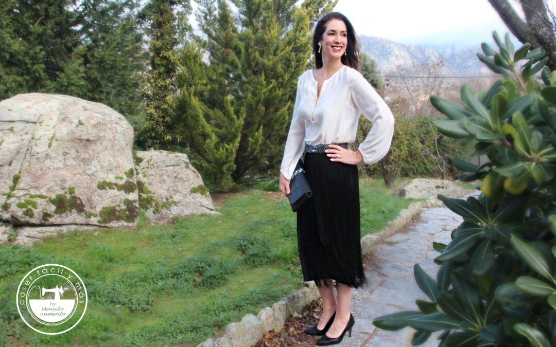 Falda de flecos elegante y fácil