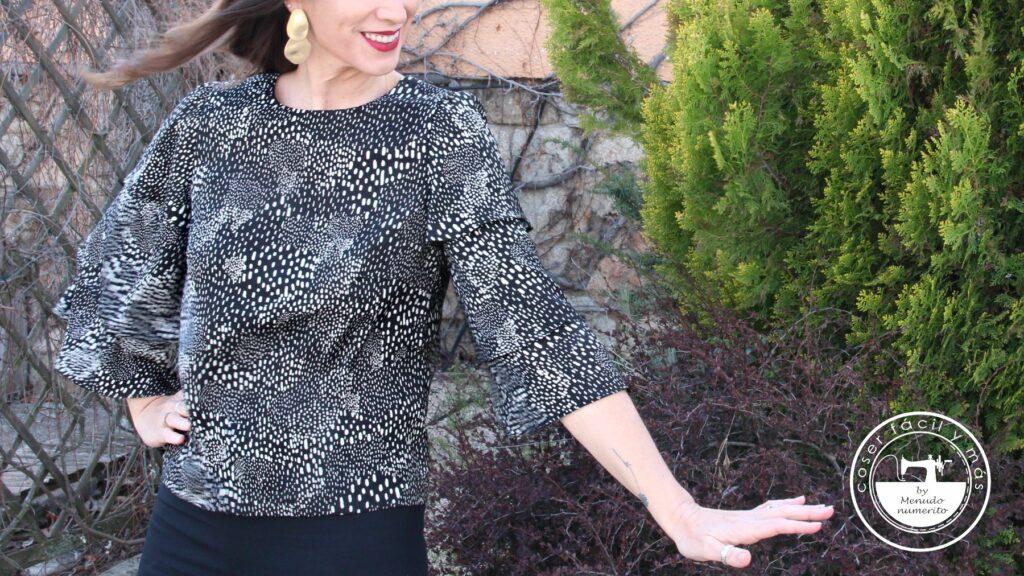 blusa manga de capa corte de oro menudo numerito