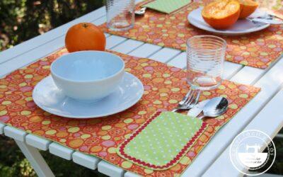 Individual con portacubiertos, viste tu mesa de color con esta sencilla idea